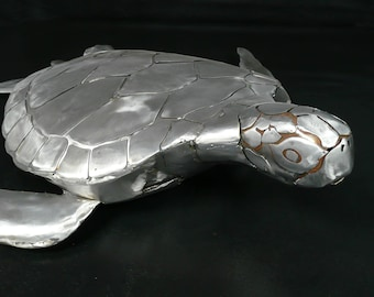 Handmade Welded Sea Turtle Sculpture