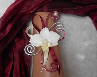 Flowers for bride or light - ivory and Burgundy bracelet