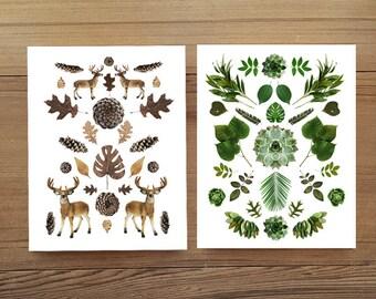Vert et bois collage notecards blanc (blanc) ensemble de 4 w/enveloppes. nature inspirée. collage de botanique. Ensemble-cadeau. Articles de papeterie
