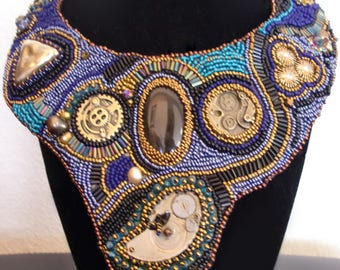 Steampunk bead embroidery statement necklace choker black agate cabochon watch parts