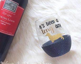 It's Been a Long Day Stemless Glitter Wine Glass // Glitter Glass // Stemless Wine Glass // Dachshund // Glitter Cup // Dachshund Lovers