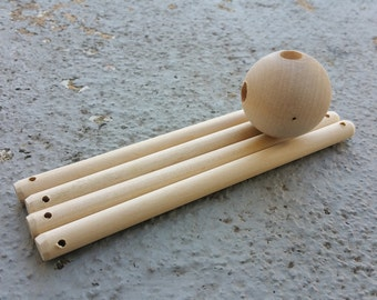 Wooden Sphere Mobile Hanger with 4 sticks Kit