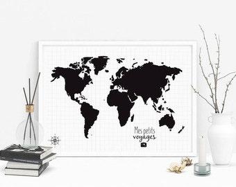 Carte du monde politique avec calottes polaires & drapeaux