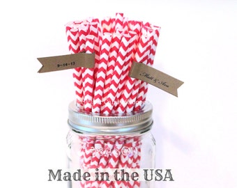 Red Paper Straws, 100 Red Chevron Straws Paper Straws Made in the USA, Wedding, Baby Shower, Birthday, Rustic, Retro Valentines Day