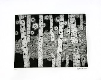 Birch forest photo etching, star clouds intaglio eye forest