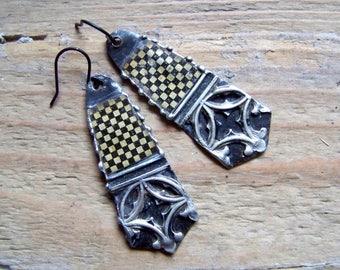 Recycled  tin earrings    *1