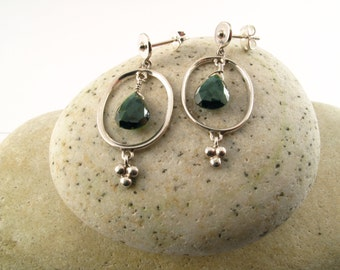 Dark Green Tourmaline Post Earrings set in Nickel Free Sterling Silver, Light Earrings, Everyday earrings
