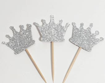 6pc Crown Glitter Cupcake Toppers, Engagement, Bridal Shower, Wedding, Birthday, Cupcake, Party Supply