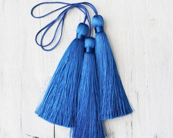 blue tassels, luxe silk, 3.5 inches, A016