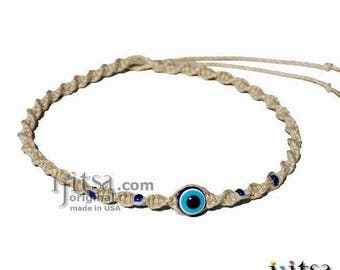 Natural Twisted Hemp Blue Good Luck bead Surfer Style Choker Necklace