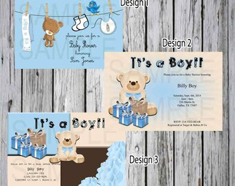 Baby Shower Invitation  Teddy Bear with Color Block and Gifts- Teddy Bear Baby Shower- Bear Baby shower- Blue Baby shower- Clothes line