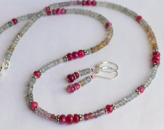 Beaded Shaded Sapphire, Burma Spinel and Silver Necklace with Free Earrings