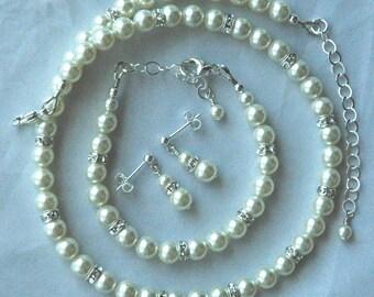Elegant Children Swarovski Crystal Pearl and Rondelle Necklace/Bracelet SET, Flower Girl Jewelry, First Communion Set, Confirmation
