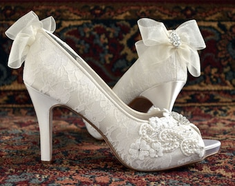 A Womens Wedding Shoes Lace Wedding Shoes Womens Lace Peep Toe Heels Womens Wedding Shoes Womens Bridal Shoes Wedding Shoes Lace PBT-0384B