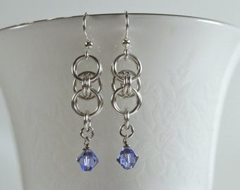Celtic Chain Maille Earrings with Tanzanite Swarovski Crystal
