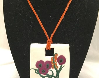 Polymer Clay Large Square Floral Pendant Necklace