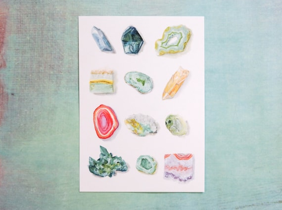 Watercolor Assorted Rock Collection art print of an original watercolor  illustration *SALE - 20% OFF*
