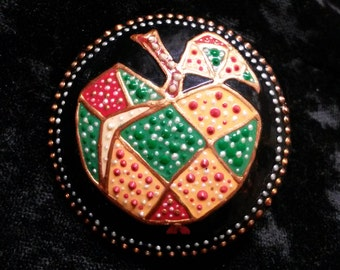 Broche «patchwork de pomme