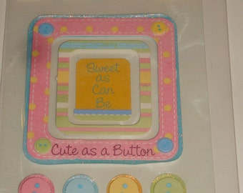 NEW ~ Dimensional Scrapbooking Stickers Baby Cute As A Button Embellishments
