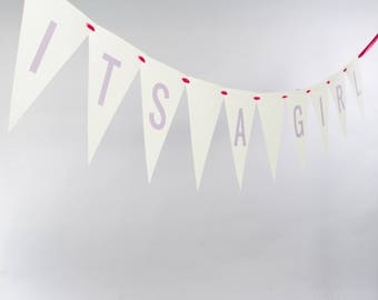 It's A Girl Bunting Banner | Bridal Shower Signage | Handcrafted Garland for Baby Announcement or Gender Reveal | Nursery Decor 3107