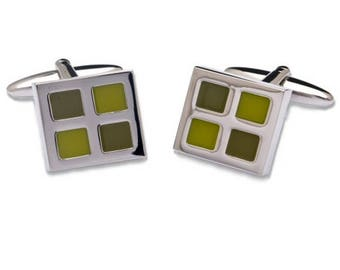 Square Shape Cufflinks and Four Divisions