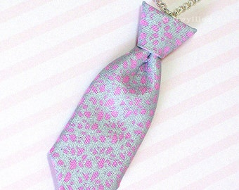 Unisex Mini Tie Silver Pink Irridescent Necklace Pin