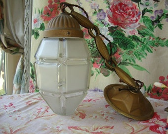 Vintage French Art Deco Lantern / Brass & Glass Lamp / Vintage Porch Light / Cut Frosted Glass Lantern With Chain and Ceiling Rose