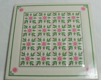 SALE Rose of Sharon Trivet or Wall Hanging, Vintage Ceramic hot pad, Religious kitchen Decor, Country Flower decor  Gingerslittlegems