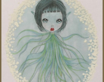 Originalart seasprite mermaid lowbrow fantasy art