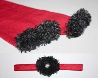 Red and Black Atlanta Falcons Cardinals Baby Leg Warmers and Headband Set