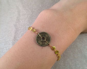 Asian coin gold chain bracelet free shipping