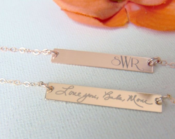 Handwritten Rose Gold Horizontal Bar Necklace - YOUR HANDWRITING, Custom Text Option- White Engraving - Rose/Yellow Gold, or Sterling Silver