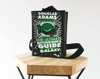 The Hitchhiker's Guide to the Galaxy Book Bag Black Leather Book Purse