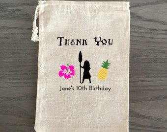 10 Birthday Treat Bags, Birthday Favor Bags, Candy Bags, Birthday Goodie Bags, Children's Birthday Hawaiian Custom - Moana Theme