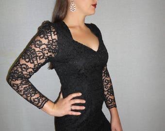 Vintage Black Lace mini-dress