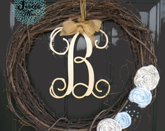 """12"""" Wooden Initial Natural"""