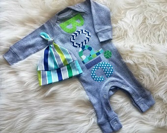 Newborn Baby Boy Coming Home Outfit-Baby Boy Clothes-Personalized Romper-Baby Boy Gift-Baby Shower Gift-Romper and Hat Set-Toddler Romper