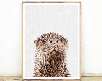 Otter Print, Nursery Wall Art Decor, Minimalist, Nautical Sea Animal, Marine Life, Printable Poster, Digital Download,  #134