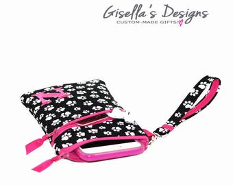 Black and hot pink iPhone 8 wristlet Wallet with front and back zipper pocket, Personalized iPhone 7 holder, Samsung Galaxy S8 /S8 Plus.
