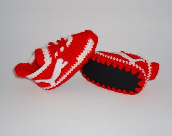 Crochet Shoes, Baby Shoes, Baby Booties, Baby Slippers, Baby Boots, Puma Shoes, Red baby shoes, red baby booties, Newborn Shoes, Baby Gift