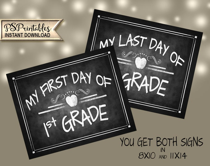 1st Grade Photo Prop Signs | PRINTABLE 1st grade sign, 1st Grade School Sign, 1st Grade Milestone, Chalkboard Prop, First Day of School Sign