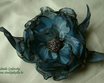 Handmade lightsteelblue - gray organza flower brooch, flower clip & pin