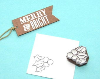 Holly Leaf and Berries stamp 1 - christmas holiday accent stamp