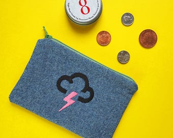 British Weather Embroidered Coin Purse - Thunder