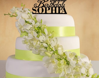 Happy Birthday  Cake Topper with your name.