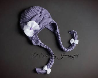 Knit Baby Cable Hat, Baby Girl Hat, Baby Shower Gift, Purple & White Baby Hat, Crochet Baby Hat, Baby Ear Flap Hat, 0-3 Months, Baby Cap