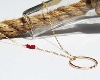 Ruby Necklace - Genuine Ruby - Gold Ruby Circle Necklace - July Birthstone - Red Birthstone