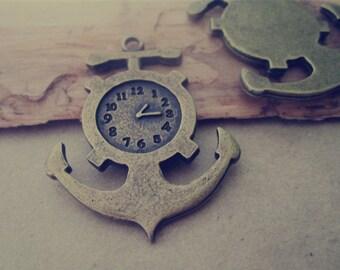 5pcs of Antique Bronze anchor clock Pendant Charms 31mmx38mm