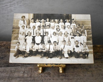 Antique Photo Postcard RPPC Group 1914 Class - Real Photo Postcard of Children in Second Grade