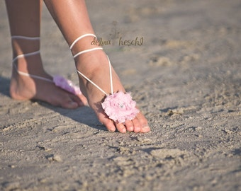 Pink and White Shabby Flower Barefoot Sandals - Classic Rhinestone Center - Great For All Ages - Newborn .. Girls .. Teen.. Adult -